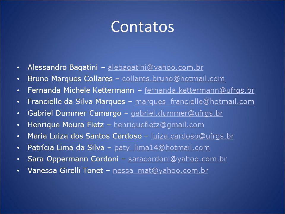 Contatos Alessandro Bagatini – alebagatini@yahoo.com.bralebagatini@yahoo.com.br Bruno Marques Collares – collares.bruno@hotmail.comcollares.bruno@hotm