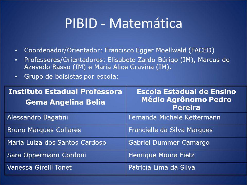PIBID - Matemática Coordenador/Orientador: Francisco Egger Moellwald (FACED) Professores/Orientadores: Elisabete Zardo Búrigo (IM), Marcus de Azevedo