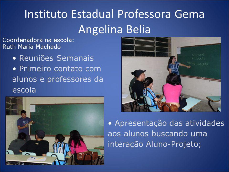 Instituto Estadual Professora Gema Angelina Belia Reuniões Semanais Primeiro contato com alunos e professores da escola Apresentação das atividades ao