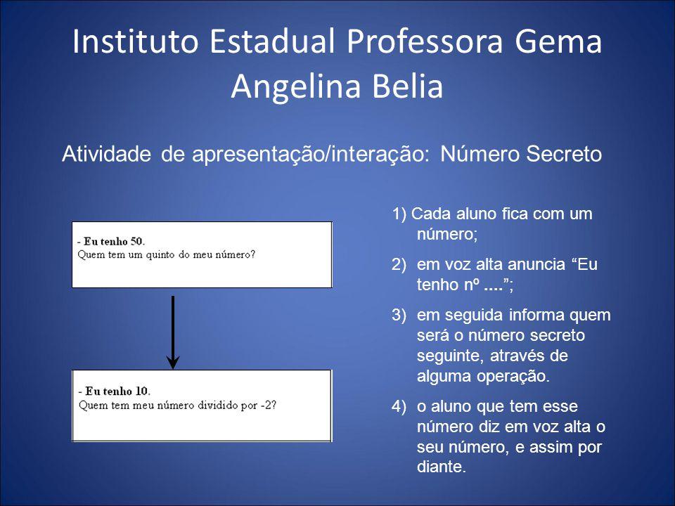 Instituto Estadual Professora Gema Angelina Belia Atividade de apresentação/interação: Número Secreto 1) Cada aluno fica com um número; 2)em voz alta