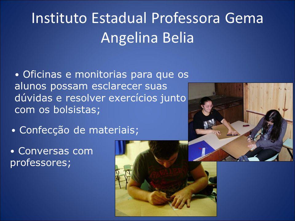 Instituto Estadual Professora Gema Angelina Belia Oficinas e monitorias para que os alunos possam esclarecer suas dúvidas e resolver exercícios junto