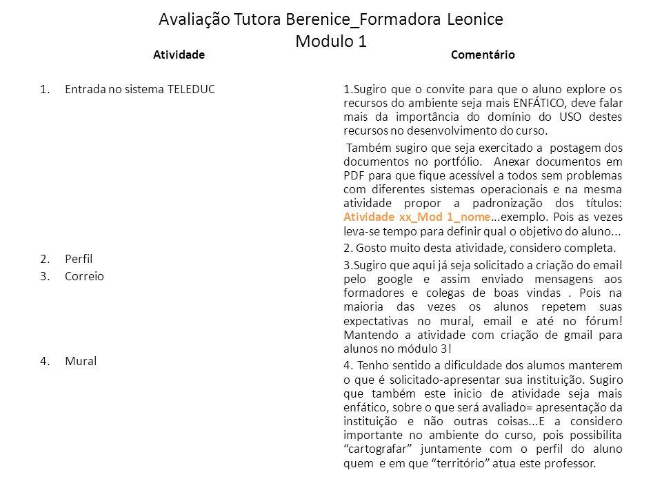 Avaliação Tutora Berenice_Formadora Leonice Modulo 1 Atividade 1.Entrada no sistema TELEDUC 2.Perfil 3.Correio 4.Mural Comentário 1.Sugiro que o convi