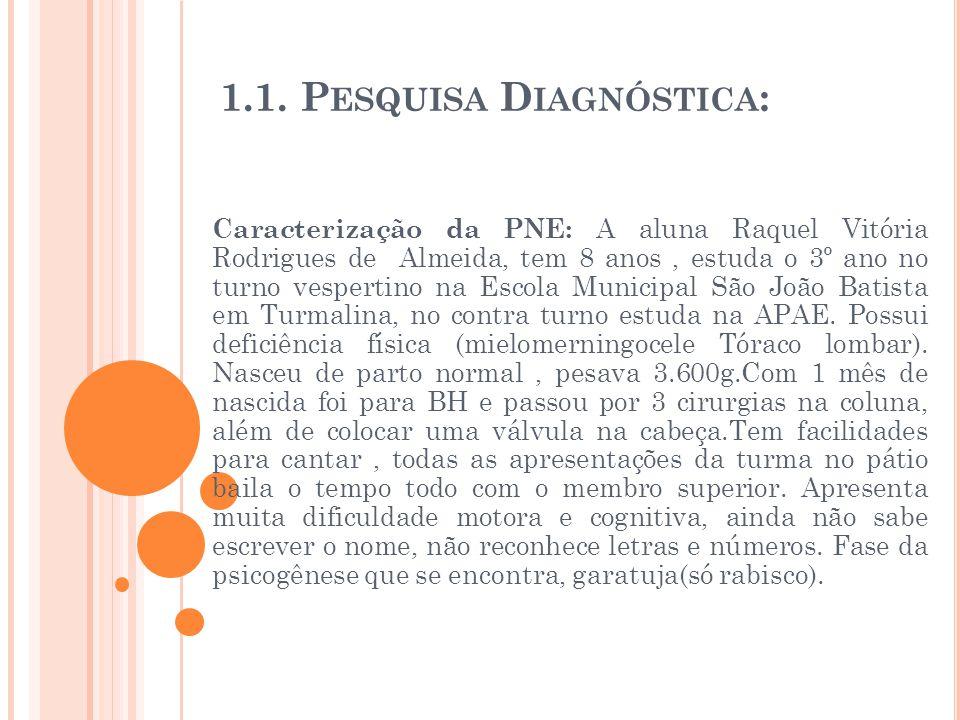1.1. P ESQUISA D IAGNÓSTICA : Caracterização da PNE: A aluna Raquel Vitória Rodrigues de Almeida, tem 8 anos, estuda o 3º ano no turno vespertino na E