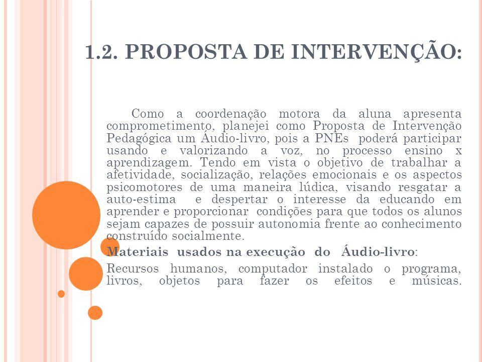 1.2. PROPOSTA DE INTERVENÇÃO: Como a coordenação motora da aluna apresenta comprometimento, planejei como Proposta de Intervenção Pedagógica um Áudio-