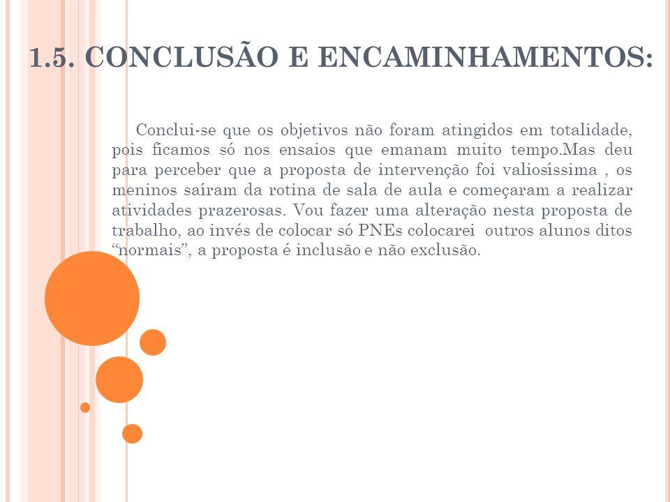 1.5. CONCLUSÃO E ENCAMINHAMENTOS: Conclui-se que os objetivos não foram atingidos em totalidade, pois ficamos só nos ensaios que emanam muito tempo.Ma