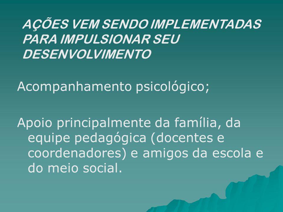 Acompanhamento psicológico; Apoio principalmente da família, da equipe pedagógica (docentes e coordenadores) e amigos da escola e do meio social. AÇÕE