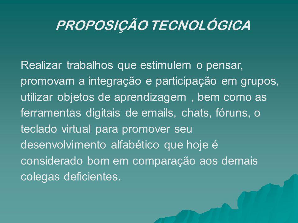 PROPOSIÇÃO TECNOLÓGICA Realizar trabalhos que estimulem o pensar, promovam a integração e participação em grupos, utilizar objetos de aprendizagem, be