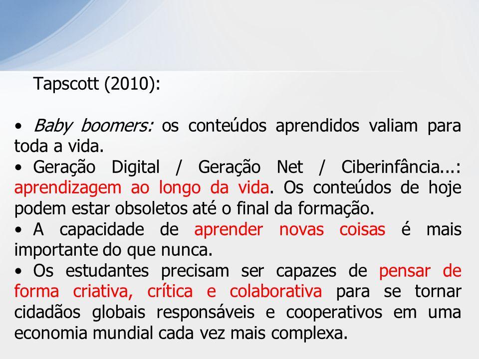 Tapscott (2010): Baby boomers: os conteúdos aprendidos valiam para toda a vida. Geração Digital / Geração Net / Ciberinfância...: aprendizagem ao long