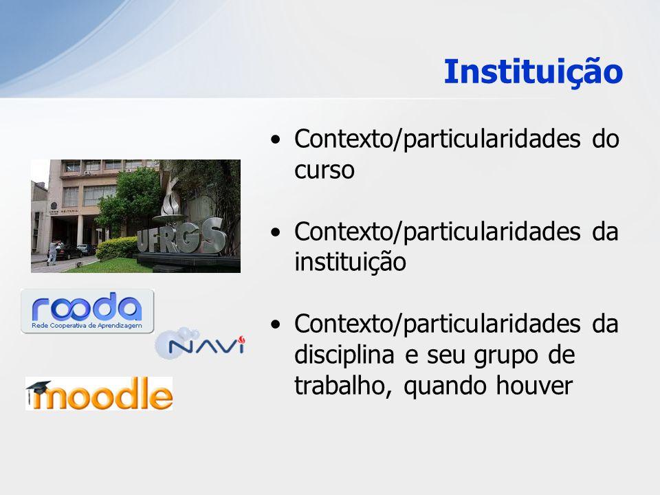 Instituição Contexto/particularidades do curso Contexto/particularidades da instituição Contexto/particularidades da disciplina e seu grupo de trabalh