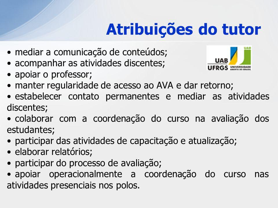 Atribuições do tutor mediar a comunicação de conteúdos; acompanhar as atividades discentes; apoiar o professor; manter regularidade de acesso ao AVA e