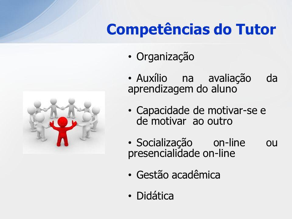 Organização Auxílio na avaliação da aprendizagem do aluno Capacidade de motivar-se e de motivar ao outro Socialização on-line ou presencialidade on-li