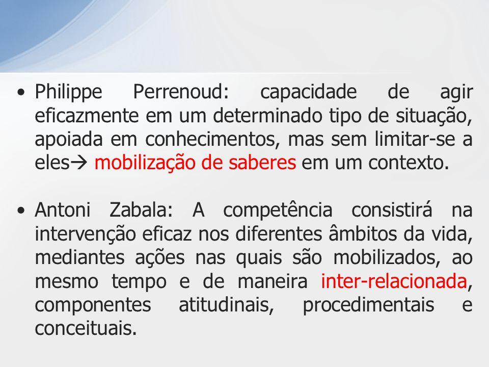 Philippe Perrenoud: capacidade de agir eficazmente em um determinado tipo de situação, apoiada em conhecimentos, mas sem limitar-se a eles mobilização