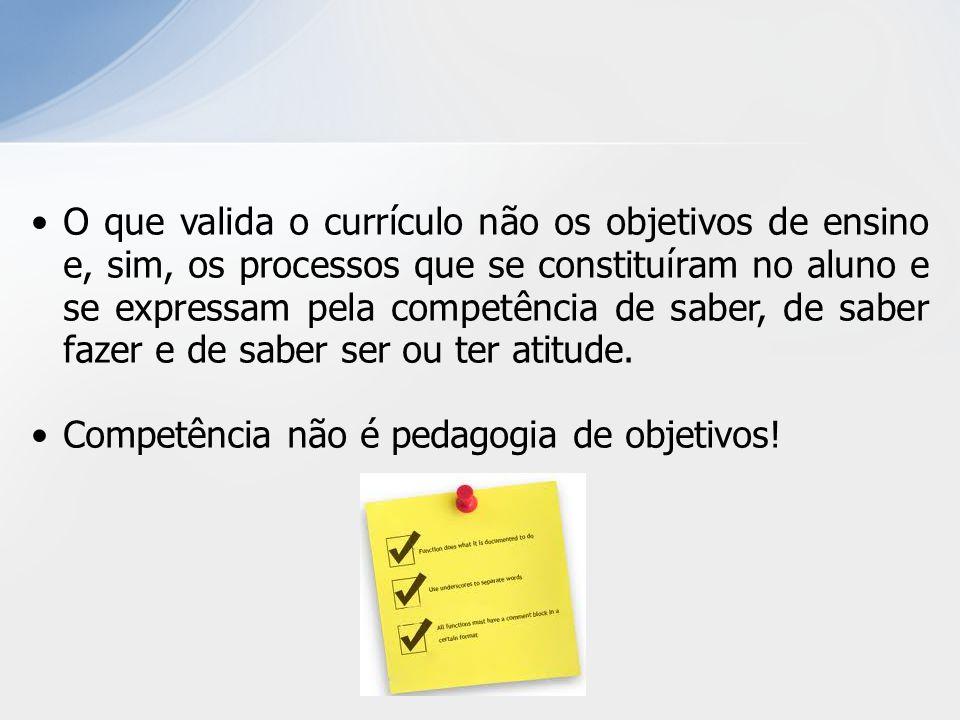 O que valida o currículo não os objetivos de ensino e, sim, os processos que se constituíram no aluno e se expressam pela competência de saber, de sab
