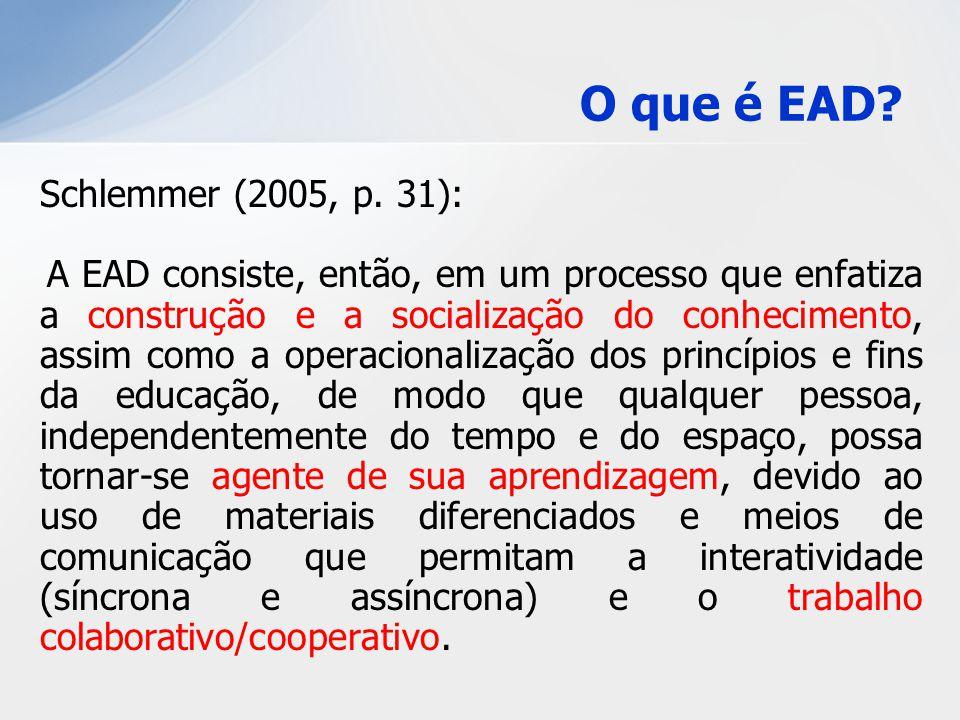 Schlemmer (2005, p. 31): A EAD consiste, então, em um processo que enfatiza a construção e a socialização do conhecimento, assim como a operacionaliza