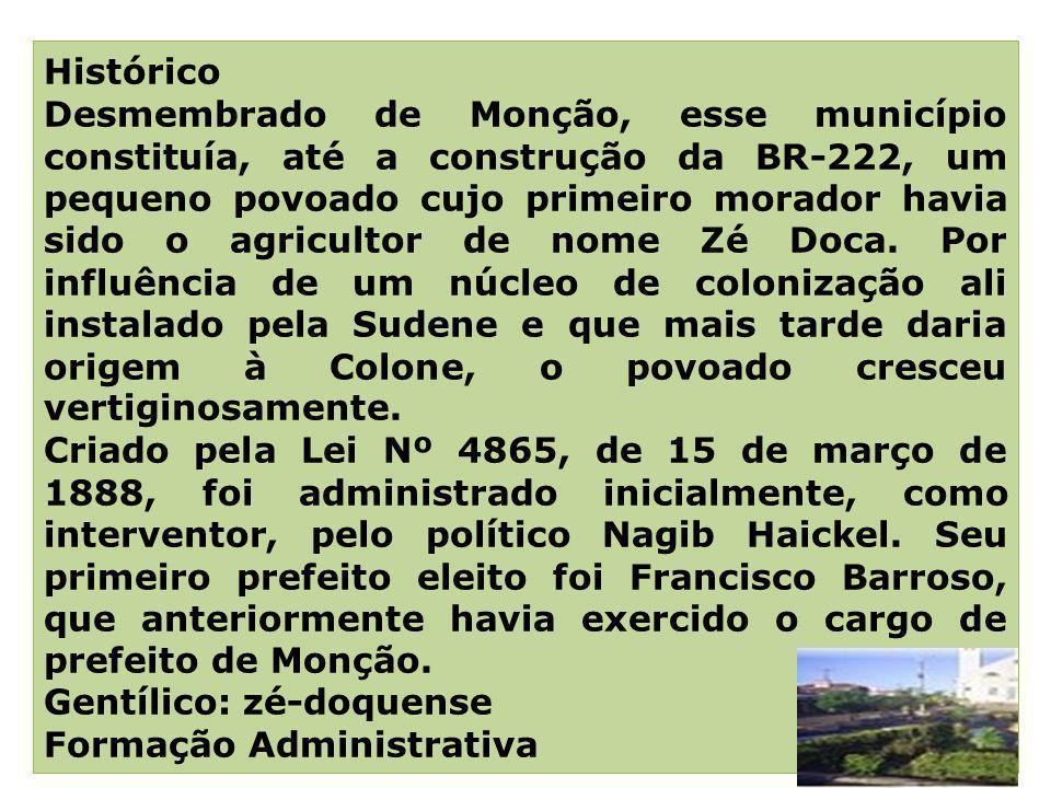 HISTORIA Histórico Desmembrado de Monção, esse município constituía, até a construção da BR-222, um pequeno povoado cujo primeiro morador havia sido o
