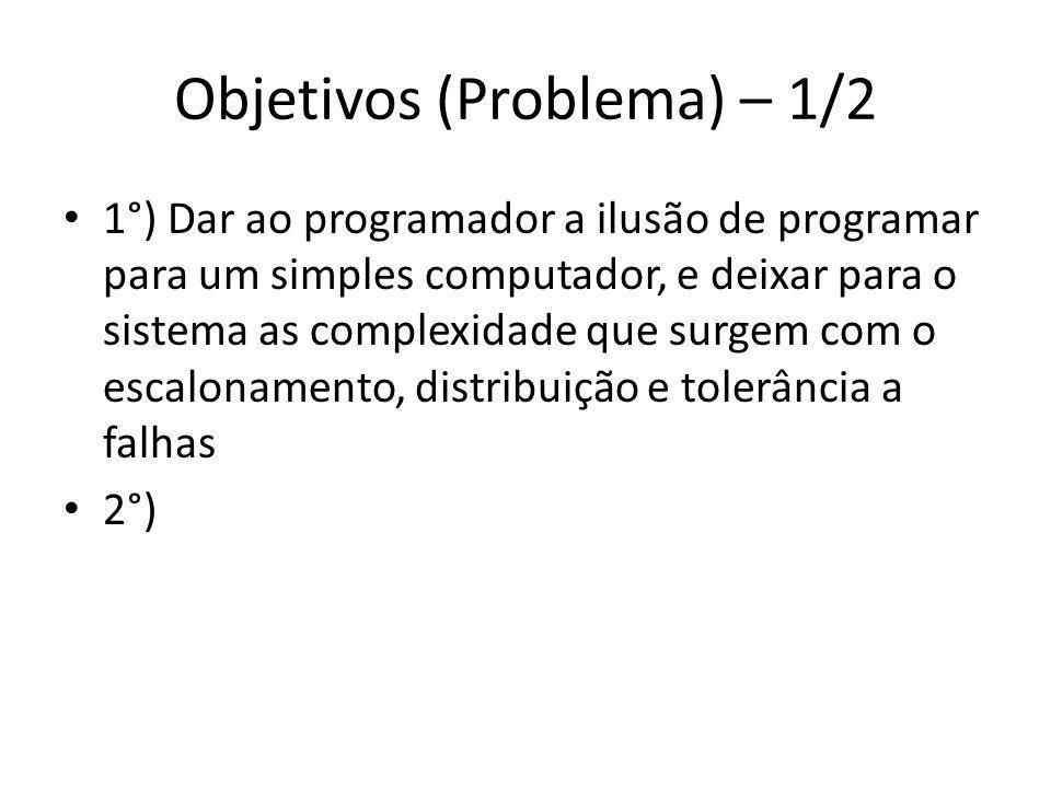 Objetivos (Problema) – 1/2 1°) Dar ao programador a ilusão de programar para um simples computador, e deixar para o sistema as complexidade que surgem com o escalonamento, distribuição e tolerância a falhas 2°)