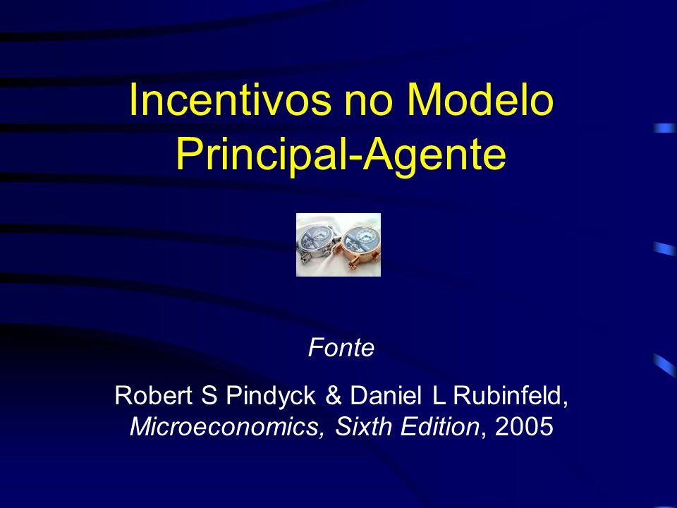 Incentivos no Modelo Principal-Agente Fonte Robert S Pindyck & Daniel L Rubinfeld, Microeconomics, Sixth Edition, 2005