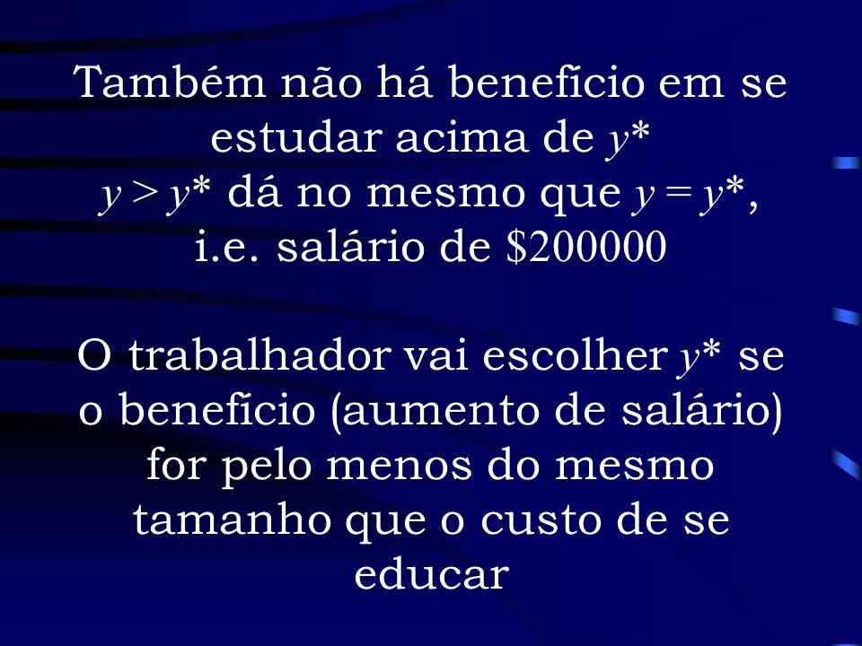 Também não há benefício em se estudar acima de y* y > y* dá no mesmo que y = y*, i.e. salário de $200000 O trabalhador vai escolher y* se o benefício