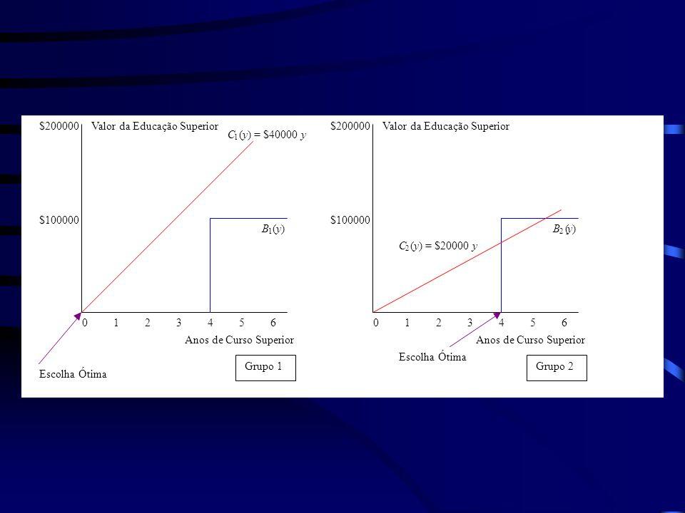 0 1 2 3 4 5 6 Valor da Educação Superior Anos de Curso Superior $200000 $100000 $200000 $100000 C 1 (y) = $40000y B 1 (y) B 2 (y) Grupo 1 Grupo 2 Escolha Ótima C 2 (y) = $20000y