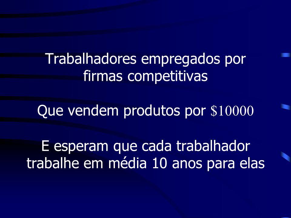 Trabalhadores empregados por firmas competitivas Que vendem produtos por $10000 E esperam que cada trabalhador trabalhe em média 10 anos para elas