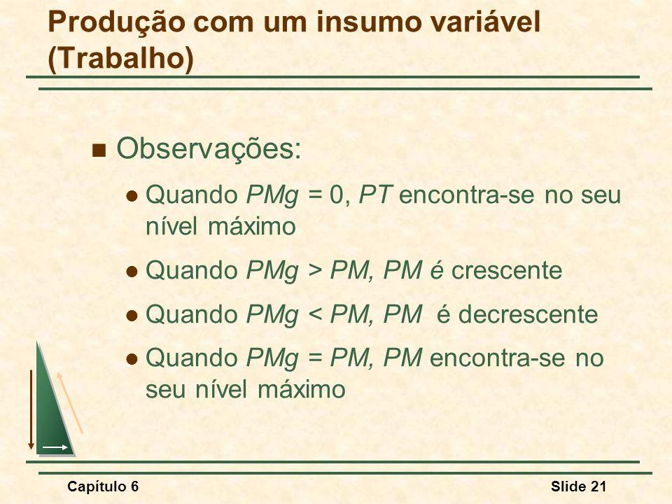 Capítulo 6Slide 21 Observações: Quando PMg = 0, PT encontra-se no seu nível máximo Quando PMg > PM, PM é crescente Quando PMg < PM, PM é decrescente Quando PMg = PM, PM encontra-se no seu nível máximo Produção com um insumo variável (Trabalho)