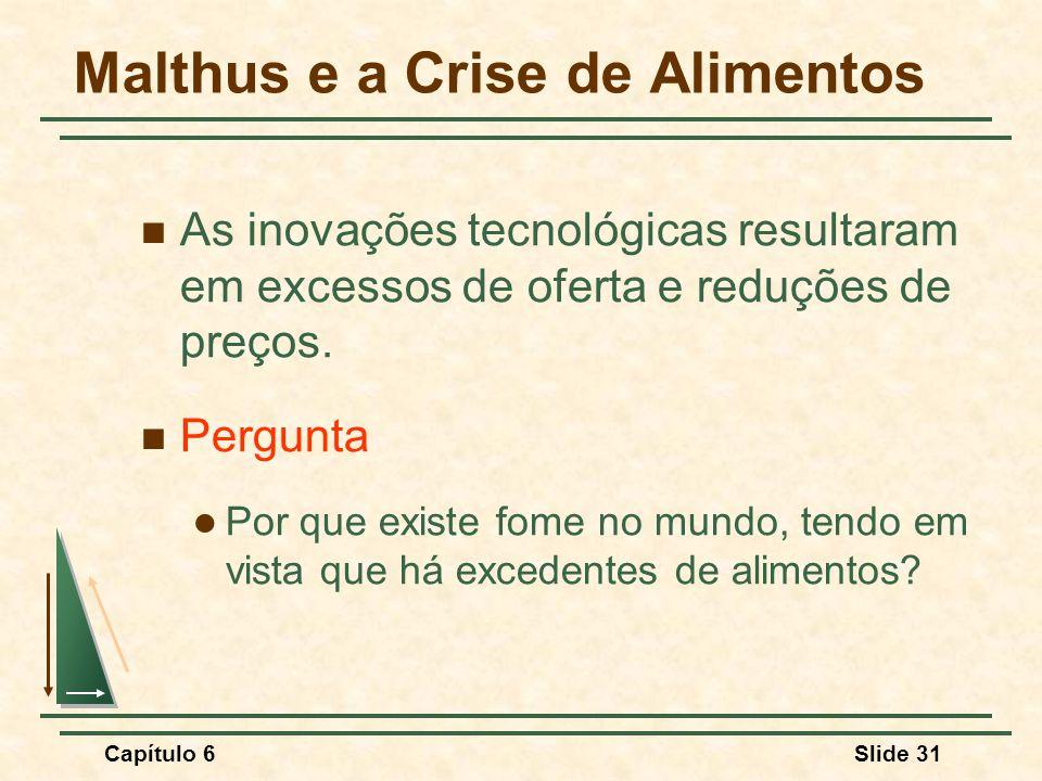 Capítulo 6Slide 31 Malthus e a Crise de Alimentos As inovações tecnológicas resultaram em excessos de oferta e reduções de preços.