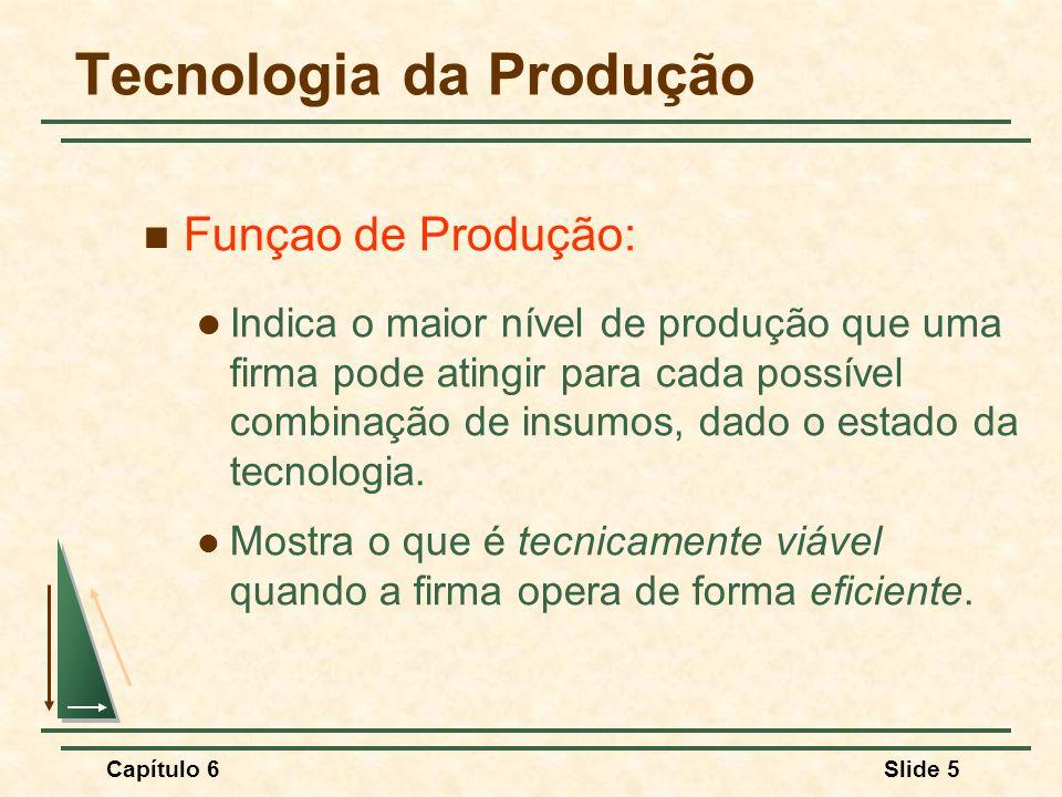 Capítulo 6Slide 6 Tecnologia da Produção No caso de dois insumos a função de produção é: Q = F(K,L) Q = Produto, K = Capital, L = Trabalho Essa função depende do estado da tecnologia