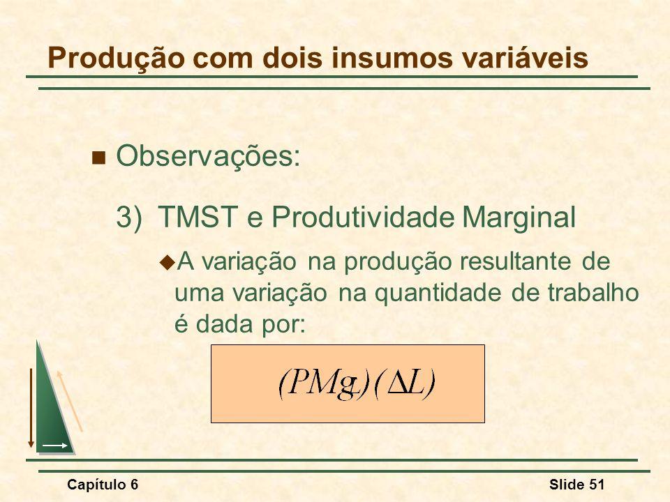 Capítulo 6Slide 51 Observações: 3)TMST e Produtividade Marginal A variação na produção resultante de uma variação na quantidade de trabalho é dada por: Produção com dois insumos variáveis