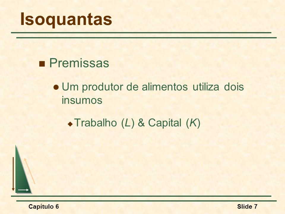 Capítulo 6Slide 7 Isoquantas Premissas Um produtor de alimentos utiliza dois insumos Trabalho (L) & Capital (K)