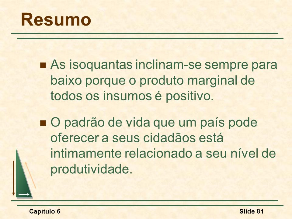 Capítulo 6Slide 81 Resumo As isoquantas inclinam-se sempre para baixo porque o produto marginal de todos os insumos é positivo.
