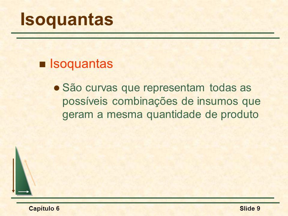 Capítulo 6Slide 9 Isoquantas São curvas que representam todas as possíveis combinações de insumos que geram a mesma quantidade de produto