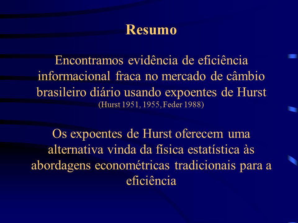 Expoentes de Hurst, Leis de Potência e Eficiência no Mercado de Câmbio Brasileiro Sergio Da Silva Departamento de Economia, Universidade Federal de Sa
