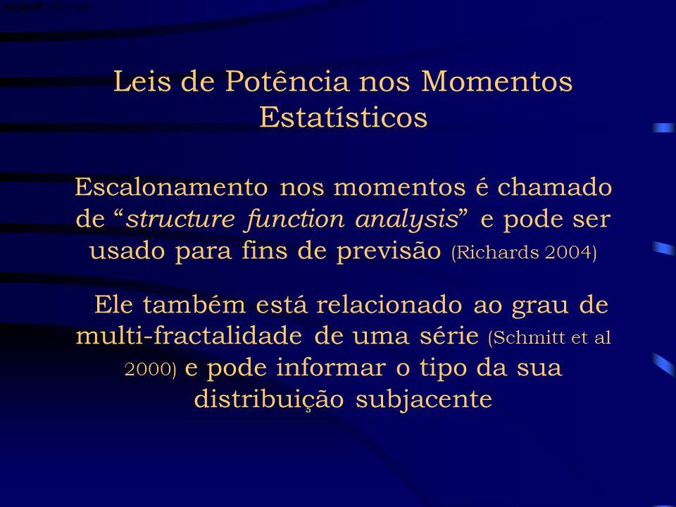 Leis de Potência nos Momentos Estatísticos Os momentos estatísticos podem ser expressos como onde o efeito de nos momentos será maior, quanto maior fo
