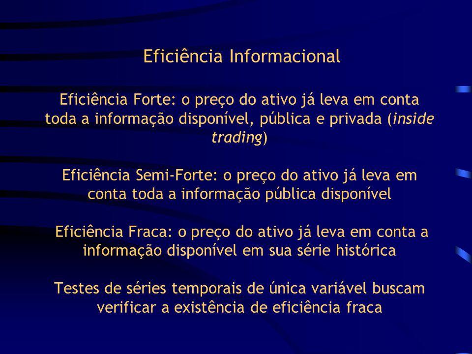 Eficiência Informacional No passeio aleatório tipo 2 os incrementos são independentes, mas provêm de diferentes distribuições No passeio aleatório tip