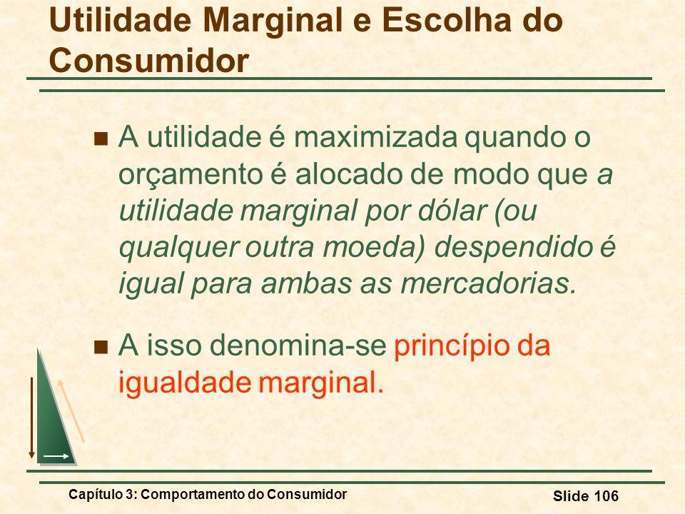 Capítulo 3: Comportamento do Consumidor Slide 106 A utilidade é maximizada quando o orçamento é alocado de modo que a utilidade marginal por dólar (ou