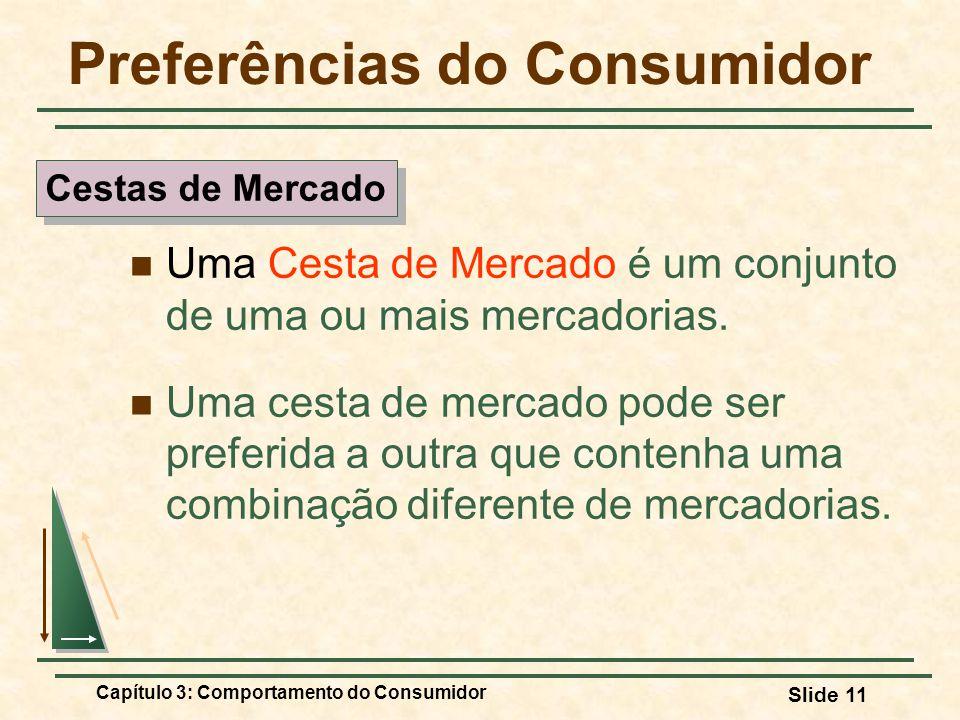 Capítulo 3: Comportamento do Consumidor Slide 11 Preferências do Consumidor Uma Cesta de Mercado é um conjunto de uma ou mais mercadorias. Uma cesta d