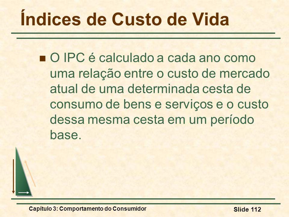 Capítulo 3: Comportamento do Consumidor Slide 112 Índices de Custo de Vida O IPC é calculado a cada ano como uma relação entre o custo de mercado atua