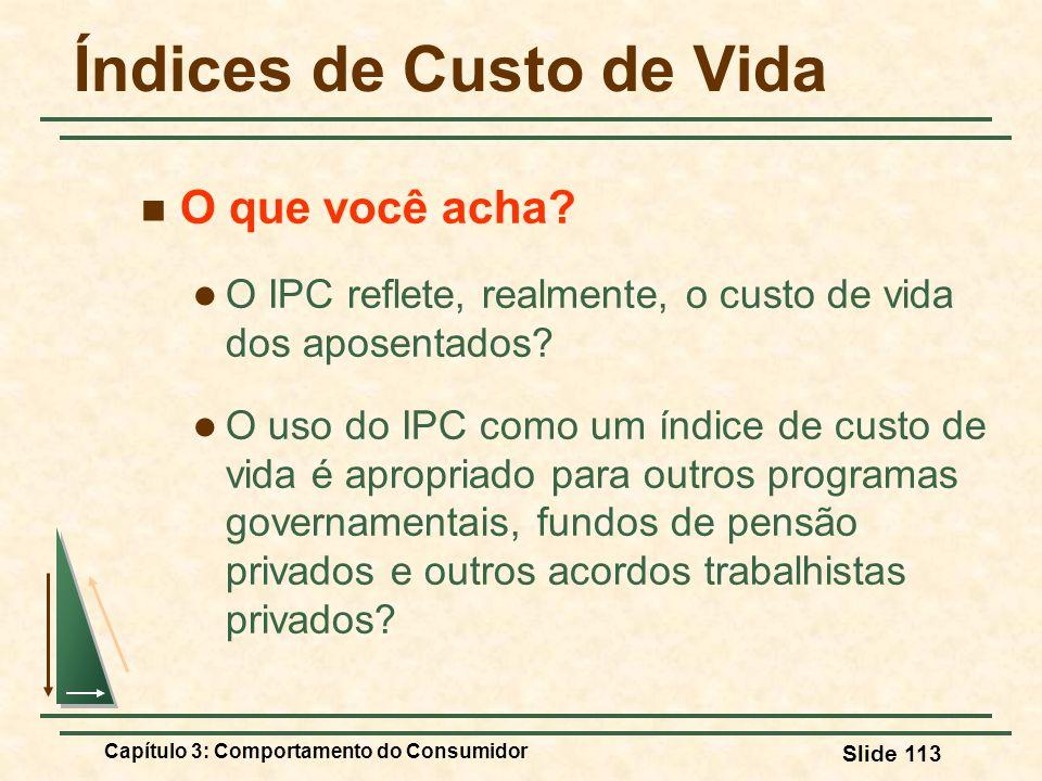 Capítulo 3: Comportamento do Consumidor Slide 113 Índices de Custo de Vida O que você acha? O IPC reflete, realmente, o custo de vida dos aposentados?
