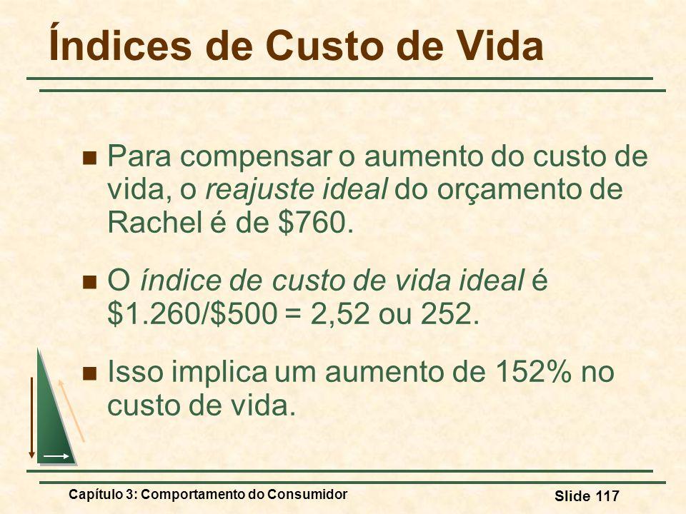 Capítulo 3: Comportamento do Consumidor Slide 117 Índices de Custo de Vida Para compensar o aumento do custo de vida, o reajuste ideal do orçamento de