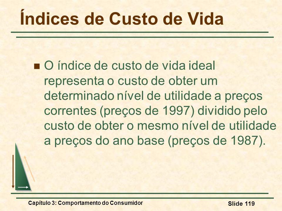 Capítulo 3: Comportamento do Consumidor Slide 119 Índices de Custo de Vida O índice de custo de vida ideal representa o custo de obter um determinado