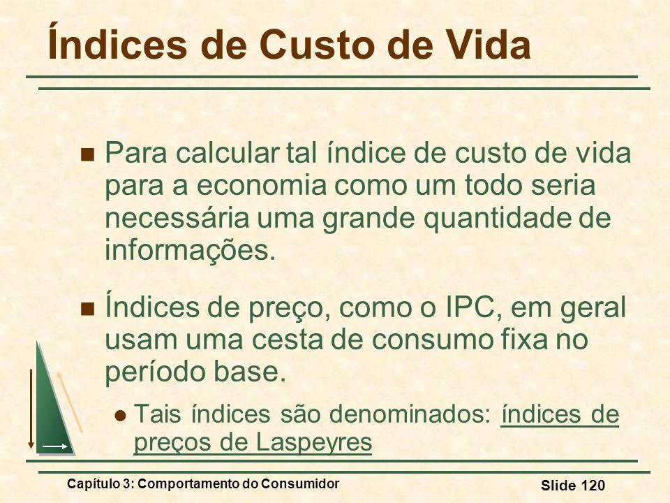 Capítulo 3: Comportamento do Consumidor Slide 120 Índices de Custo de Vida Para calcular tal índice de custo de vida para a economia como um todo seri