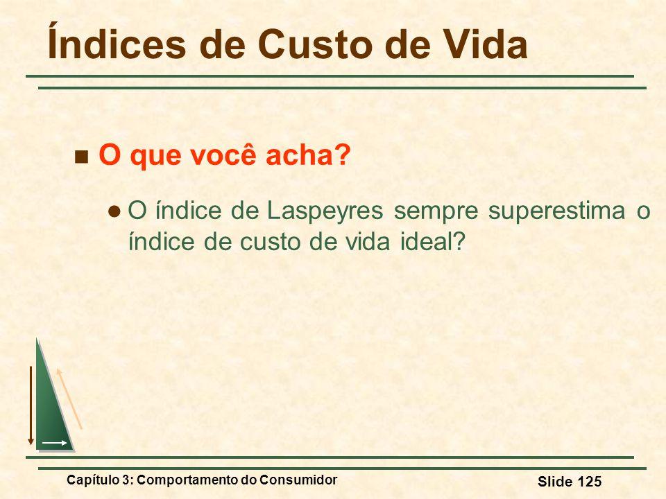 Capítulo 3: Comportamento do Consumidor Slide 125 Índices de Custo de Vida O que você acha? O índice de Laspeyres sempre superestima o índice de custo