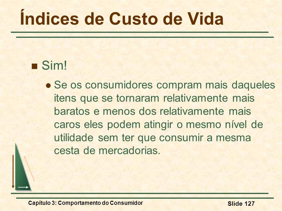 Capítulo 3: Comportamento do Consumidor Slide 127 Índices de Custo de Vida Sim! Se os consumidores compram mais daqueles itens que se tornaram relativ