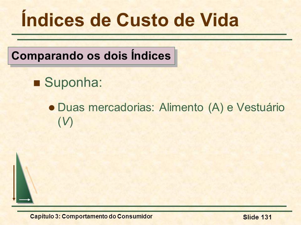 Capítulo 3: Comportamento do Consumidor Slide 131 Índices de Custo de Vida Suponha: Duas mercadorias: Alimento (A) e Vestuário (V) Comparando os dois