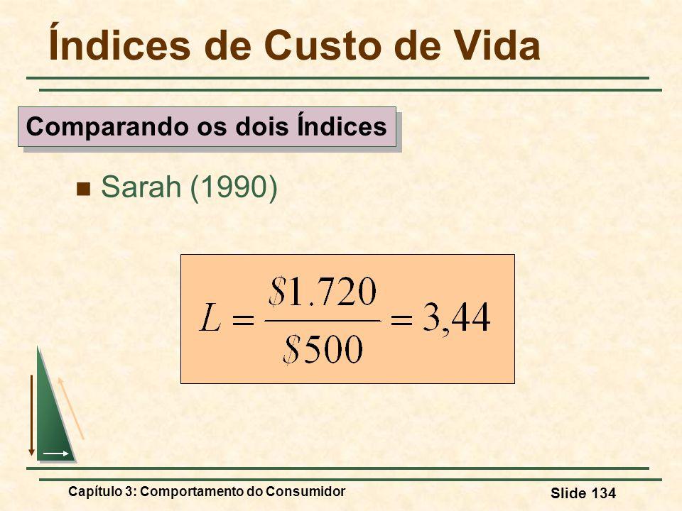 Capítulo 3: Comportamento do Consumidor Slide 134 Índices de Custo de Vida Sarah (1990) Comparando os dois Índices