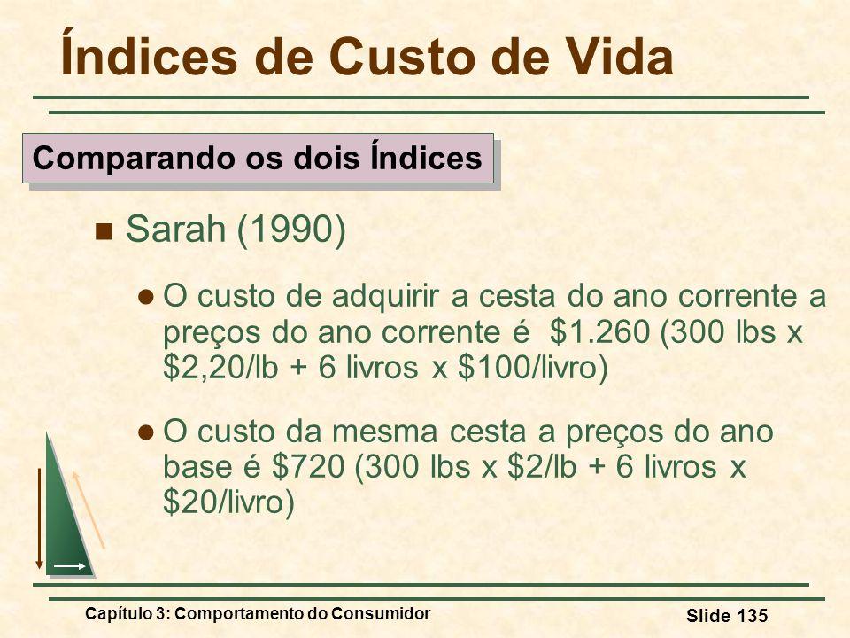 Capítulo 3: Comportamento do Consumidor Slide 135 Índices de Custo de Vida Sarah (1990) O custo de adquirir a cesta do ano corrente a preços do ano co