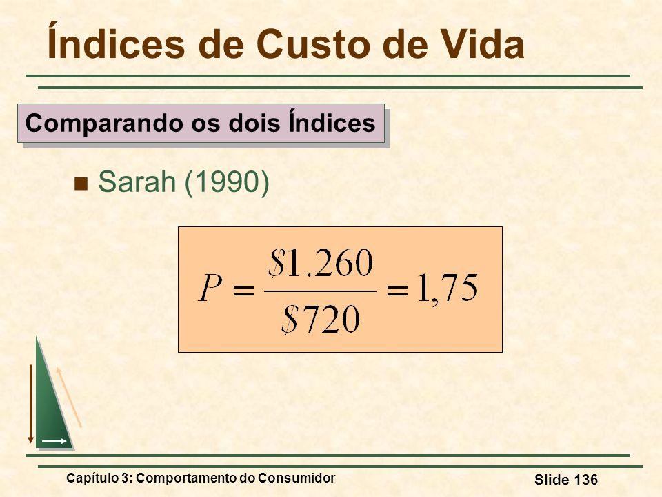Capítulo 3: Comportamento do Consumidor Slide 136 Índices de Custo de Vida Sarah (1990) Comparando os dois Índices
