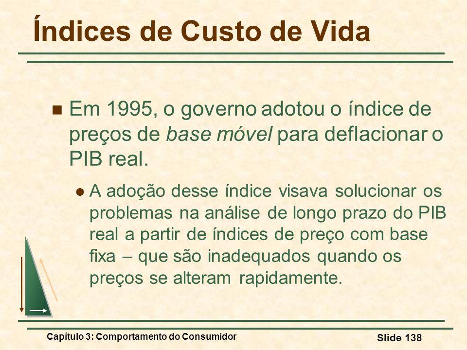 Capítulo 3: Comportamento do Consumidor Slide 138 Índices de Custo de Vida Em 1995, o governo adotou o índice de preços de base móvel para deflacionar