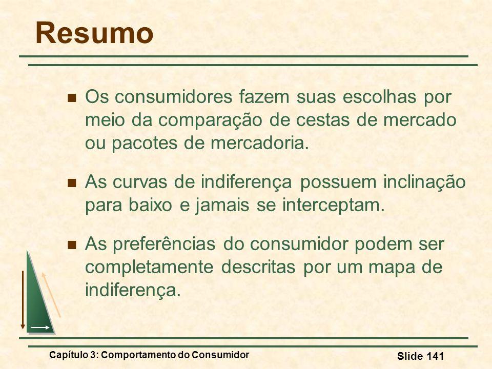 Capítulo 3: Comportamento do Consumidor Slide 141 Resumo Os consumidores fazem suas escolhas por meio da comparação de cestas de mercado ou pacotes de