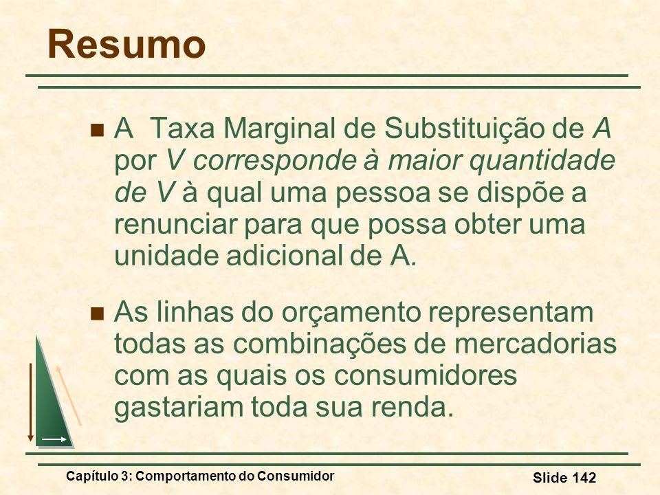 Capítulo 3: Comportamento do Consumidor Slide 142 Resumo A Taxa Marginal de Substituição de A por V corresponde à maior quantidade de V à qual uma pes